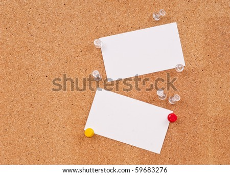 Blank Cards on Cork board - stock photo