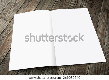 Blank catalog, magazines,book mock up on wood background ( with 4 layer clipping path : Right page,left page,Clip1,Clip2) - stock photo