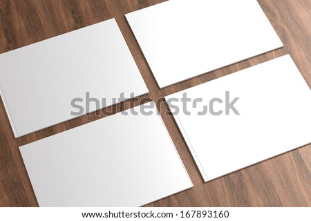 Blank Catalog on the wooden Background for your design - stock photo