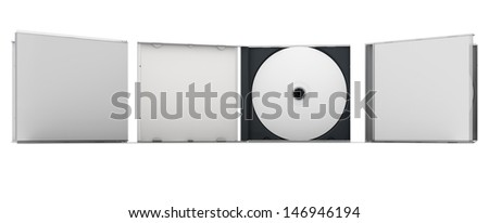 Blank CD and CD case mock up set. Clipping path included for easy selection. - stock photo