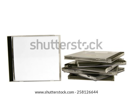 Blank CD Protective Case With Stack Of Cases - stock photo