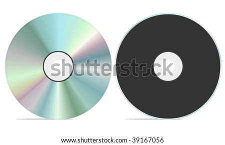 Blank cd rom with both front and back view. isolated on a white background.