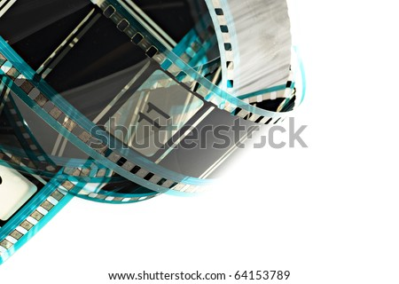 Blank celluloid cinema film strip isolated on white
