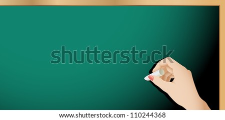Blank chalkboard and a female hand holding chalk