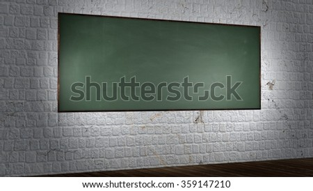 Blank chalkboard, blackboard on the old brick wall