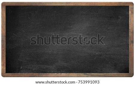 Blank chalkboard. blackboard with wooden frame on white background. can add your own text on space.