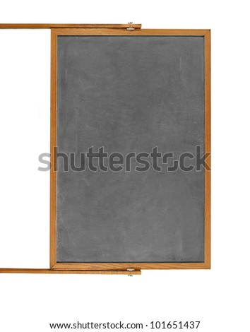 Blank chalkboard in wooden frame isolated
