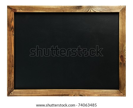 Blank chalkboard in wooden frame isolated on white - stock photo
