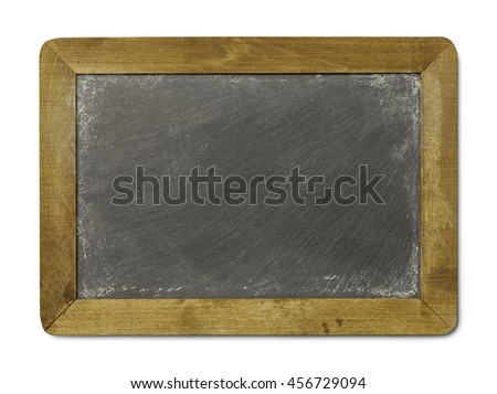 Blank Chalkboard Slate Isolated on White Background. - stock photo
