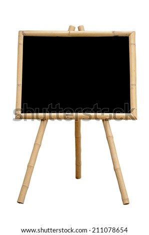 Blank Chalkboard with Bamboo wood Stand Isolated on White Background with Clipping Path. - stock photo