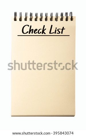 Blank Check List notebook isolated on white background. - stock photo