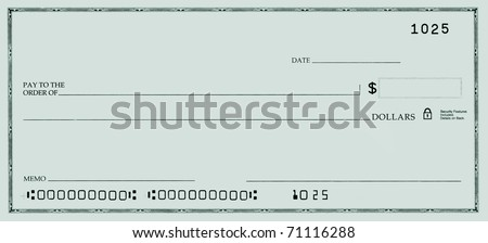 Blank check with false numbers in a green tone.