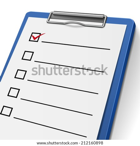 blank checklist clipboard with check boxes on it - stock photo