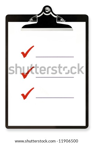 Blank checklist on clipboard, with large red ticks, and room for text. - stock photo