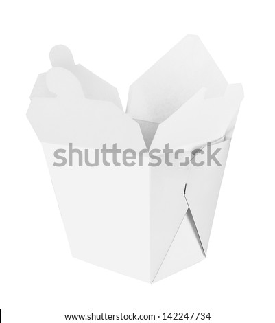 Blank Chinese food container isolated on white background - stock photo
