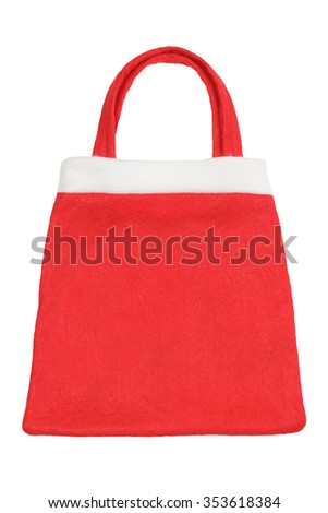 Blank Christmas shopping fabric bag isolated on white background - stock photo