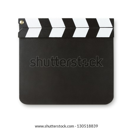 Blank clapboard isolated on white background with copy space and clipping path
