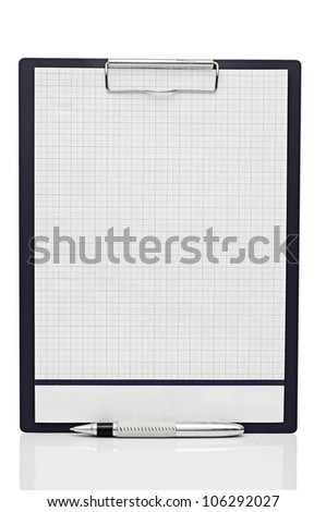 blank clipboard with a pen isolated on white