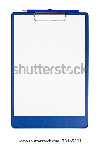 Blank clipboard with blue pencil isolated on white - stock photo