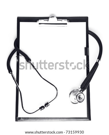 blank clipboard with modern stethoscope - stock photo