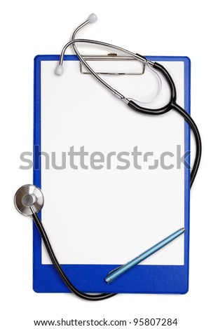 Blank clipboard with stethoscope - stock photo