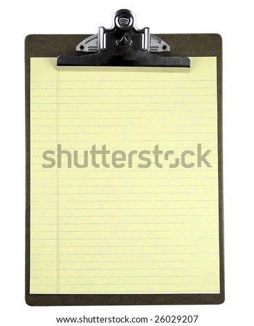 Blank clipboard with yellow note paper isolated on white.