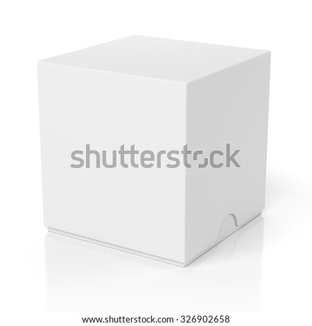 Blank closed box with slide cover isolated on white background - stock photo