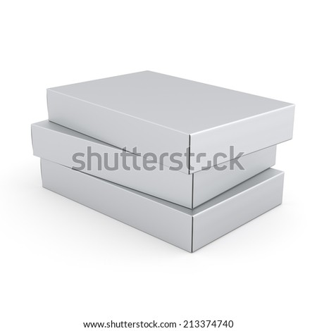 blank closed boxes - stock photo