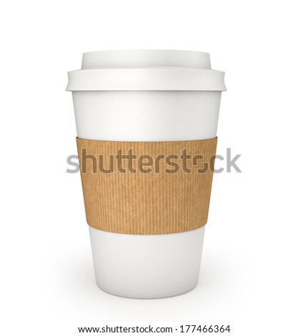 Blank Coffee Cup , Clipping Path , 3d render - stock photo