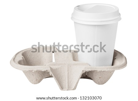 Blank coffee cup in tray - stock photo