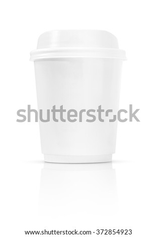 blank coffee cup to go isolated on white background with clipping path