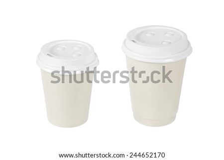 Blank coffee cups isolated on white - stock photo