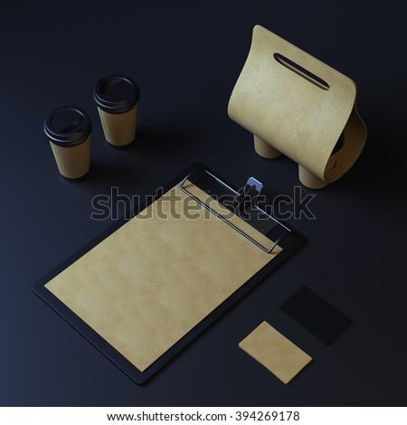 Blank coffee packaging template mockup on dark background - stock photo