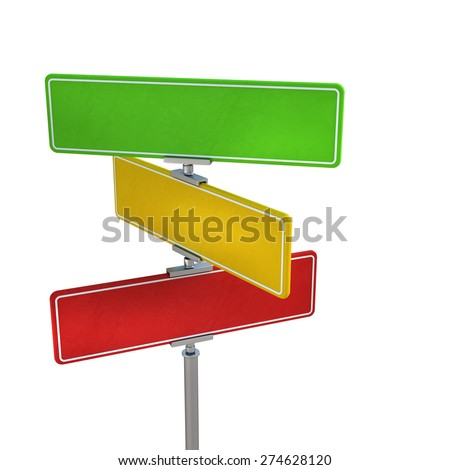 Blank color traffic signs isolated on white background. High resolution 3d