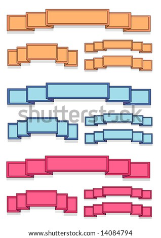 Blank Colored Banner Ribbons - stock photo