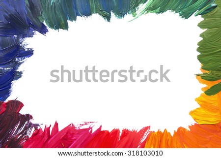 Blank colorful frame painted on white background - stock photo