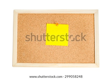 Blank colorful notes pinned on cork wood notice board isolate on white with clipping path - stock photo