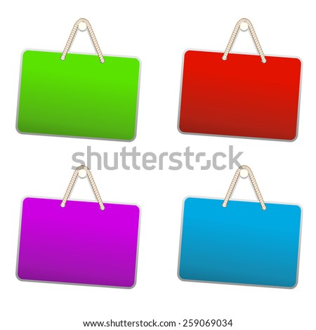 Blank colorful plastic sign hanging from a nail by string on white background.  illustration  - stock photo