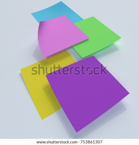 Blank Colorful Sticky Notes isolated on white background 3d illustration
