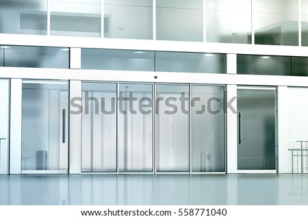 business glass front door. Blank Commercial Building Glass Entrance Mockup, 3d Rendering. Business Canter Closed Entry Mock Up Front Door I