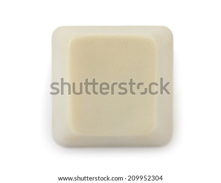 Blank computer button isolated on white background - stock photo