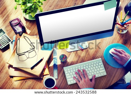 Blank Computer Desktop Home Office Man Working Concept - stock photo