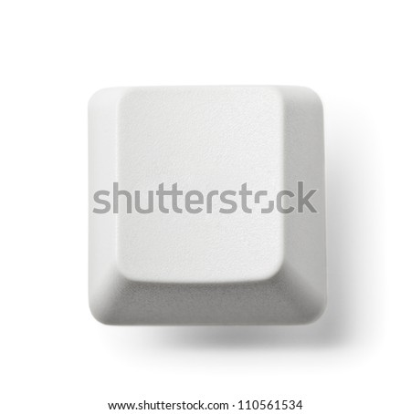 Blank computer key on white background