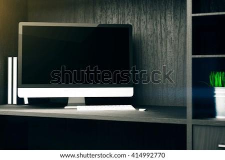 Blank computer monitor on wooden cupboard shelf. Mock up, 3D Rendering - stock photo
