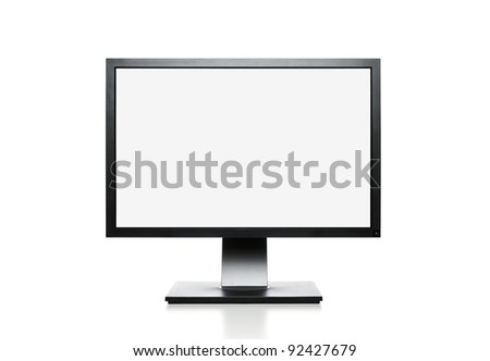 Blank computer monitor with clipping path for the screen - stock photo