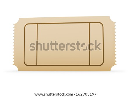 Blank Concert Ticket Isolated On White.  Blank Ticket