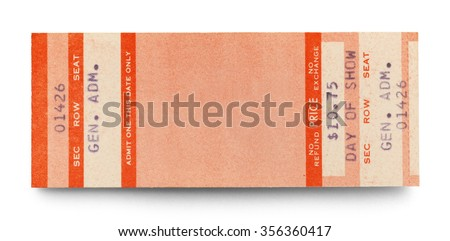 Blank Concert Ticket With Copy Space Isolated On A White Background.  Blank Concert Ticket Template
