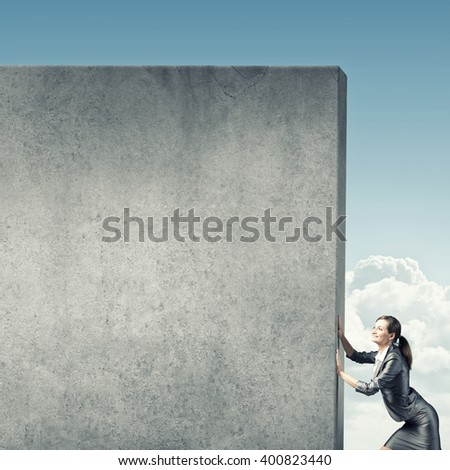 Blank concrete banner - stock photo