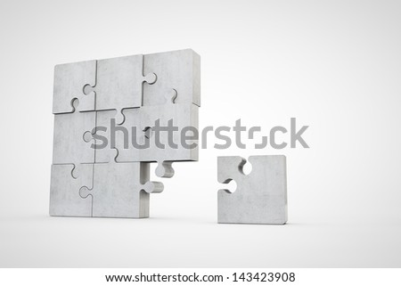 blank concrete puzzle - stock photo