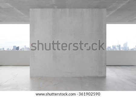 Blank concrete wall in the interior with copyspace 3D Render - stock photo